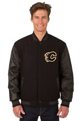Nhl Calgary Flames Wool And Leather Reversible Jacket With Embroidered Logo