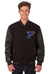 Nhl St Louis Blues Wool And Leather Reversible Jacket With Embroidered Logo