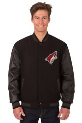 Nhl Arizona Coyotes Wool And Leather Reversible Jacket With Embroidered Logo
