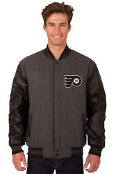 Nhl Philadelphia Flyers Wool And Leather Reversible Jacket With Embroidered Logo