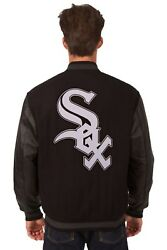 Chicago White Sox Wool And Leather Reversible Jacket With Embroidered Logos Black