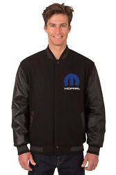 Dodge Mopar Wool And Leather Reversible Jacket With Embroidered Emblems Jh Design