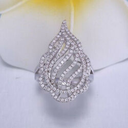 2.92ct Natural Round Diamond 14k Solid White Gold Cluster Ring In Size 7 To 9