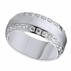 Round Cubic Zirconia Comfort Fit Engagement Band Ring 925 Sterling Silver