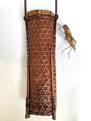 Outstanding Rare Japanese Cylindrical Ikebana Woven Basket Circa 1920andrsquos - 1940andrsquos