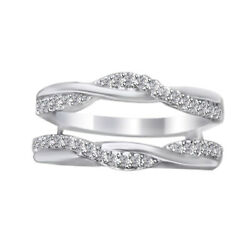 0.35 Ct Wave Style Solitaire Enhancer Diamonds 14k White Gold Ring Guard Wrap