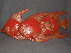 Great Set 3 Vintage Chalkware Plaster Fish Wall Plaques For Mermaid Style Bath