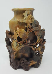 Antique Handcarved Chinese Soapstone Flowers And Birds Vase Relief Sculpture 9.75