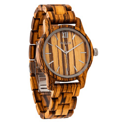 Menand039s Handmade Zebra Wooden Timepiece - Elegant And Classy Natural