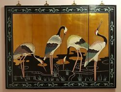 Vintage Set Of 4 Asian Oriental Wall Art Hand Carved And Painted Panel With Cranes