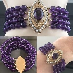 14k Gold Clasp 4 Strand Natural 6 Mm Amethyst And Seed Pearl Bracelet