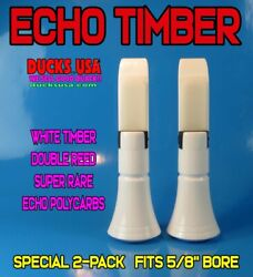 Echo Duck Call Insert White Polycarb Timber Double Reed Super Rare 2-pack