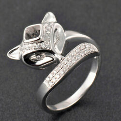 14k Solid White Gold Fox Head With Natural Diamond Princess 4x4mm Ring Setting