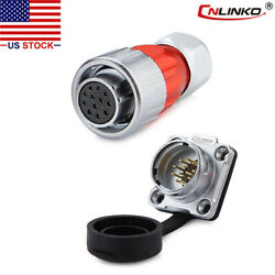 Cnlinko 12 Pin Power Signal Connector Female Plug And Male Socket Waterproof Metal