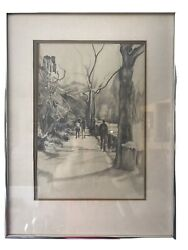 Roslyn Kirsch Art City Sketch Signed Rare Vintage Unique Fast Free Shipping