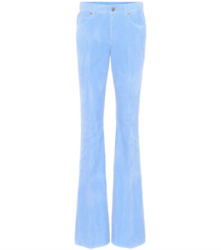 GUCCI BLUE COTTON CORDUROY MID-RISE FLARED TROUSERS SIZE 25 $505.17