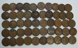 1915-d Lincoln Wheat Cent Penny 50-coin Roll Pennies Lot Set - Denver Mint Mk027