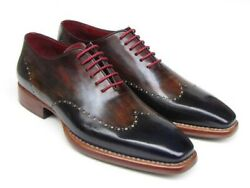 Paul Parkman Men's Wingtip Oxford Goodyear Welted Navy Red Black Shoes Id081