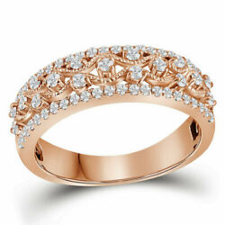 Saris And Things 10kt Rose Gold Womens Round Diamond Roped Woven Band Ring 1/2 C