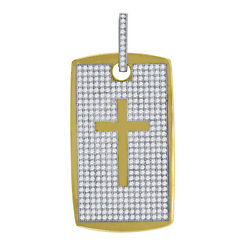 10kt Gold Two-tone Cz Polished Mens Cross Ht58.5mm X W27.4mm Dog Tag Charm Pen