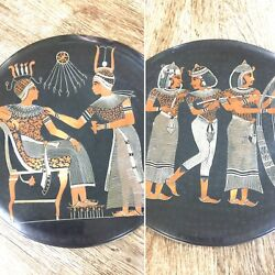 Pair Of Vintage Middle Eastern Egyptian Revival Inlay/onlay Copper Wall Plaques