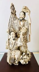 """One Of A Kind Antique Japanese Sculpture """"Gama Sennin  And Attendant With Frogs"""""""