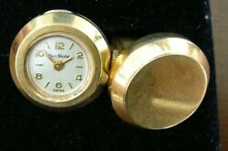 One Pair 14kt Yellow Gold Marc Nicolet Swiss Watch Cuff Links Weighs 15 Grams