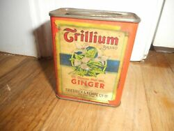 Vintage Friedrich And Kempe Trillium Ginger Red Wing Mn Advertising Spice Tin Can