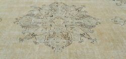 Bohemian Vintage 1940-1950's Muted Olive Green Dye,wool Pile Oushak Rug 8x11ft