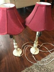 Set Of 2 Ivory Metal Buffet Table Lamps Vintage Style Decorative Shades And Tassel