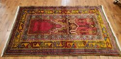 Fine Antique Cr1900-1939s Happy Color Wool Pile Inlice Prayer Rug 2and03911andtimes4and0397