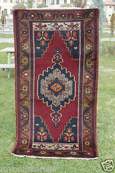 Rare Vintage Vibrant Natural Dye Wool Pile Yahyali Tribal Area Rug 3and0395and039and039x6and0397and039and039