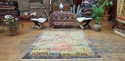 Rare Antique 1940-1950and039s Wool Pile Muted Natural Dye Inlice Prayer Rug 3and0398andtimes4and0398