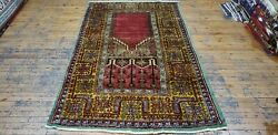 Fine Antique 1940-1950and039s Wool Pile Muted Natural Dye Inlice Prayer Rug 4and0394andtimes7and0394