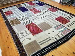 Beautiful Antique Multi-colored Wool Pile Tribal Area Patchwork Rug 8x12ft