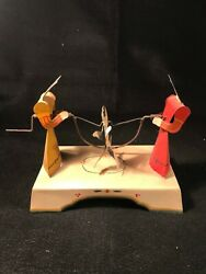 Antique Cats Jump Rope With Dog Crank Tin Toy Possibly Japanese Works