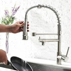 Kitchen Faucet Sink Pull Down Sprayer Single Lever Spring Brushed Nickel Swivel