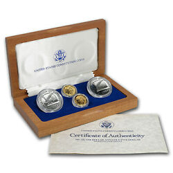 1987 4-coin Commem Constitution Set Bu And Proof W/box And Coa - Sku 7192