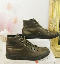 GUCCI VTG Dark Brown Olive Green Leather High Top Lace Up Round Toe Sneaker 388 $195.00