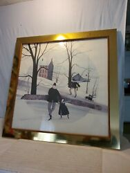 P Buckley Moss Skating Lesson Rare Print 1979 Signed And Numbered 42.5x 42.5