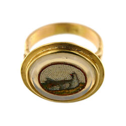 2888 Micro Mosaic,roma, Second Half Of 19th C., Set In Modern 18k Gold Ring
