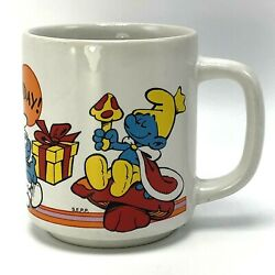 Smurfs Vintage Coffee Cup Mug Happy Birthday 1981 Wallace Berrie Bright Colors