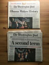 Old Newspaper Collectibles Obama Wins Presidency 2008 And 2012 Washington Post