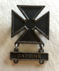 Wwii Us Army Sharpshooter Badge W/carbine Qualification Bar Sterling