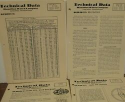 13 Hamilton Watch Company Technical Data Sheets And Bulletins C 1950and039s