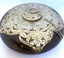 Rare Old Carved Wood Hand Hammered Metal Silver Tone Opium Box Container W Chain