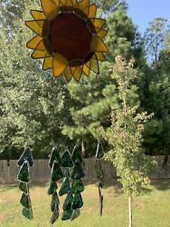 Stained Glass Sunflower Wind Chime