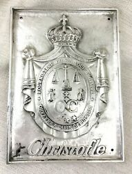 Christofle Silver Plated Bronze Wall Plaque Shop Store Sign Coat of Arms RARE