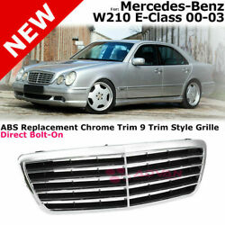 For 00-03 Mb W210 E-class   9 Trim Style Front Grille Upper Assy Chrome Black