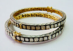 Victorian Natural Polki Diamond And 925 Sterling Silver 2 Pieces Bangle Bracelet
